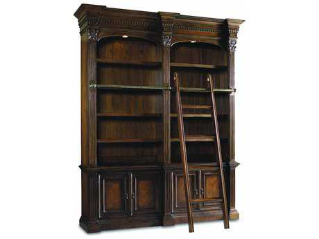 Hooker Furniture European Renaissance II Dark Rich Brown Double Bookcase with Ladder & Rail