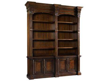 Hooker Furniture European Renaissance II Dark Rich Brown Double Bookcase without Ladder & Rail