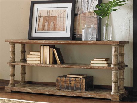Hooker Furniture Wakefield Taupe with Cherry & Pine 60''L x 18''W Rectangular Console Table with Shelf