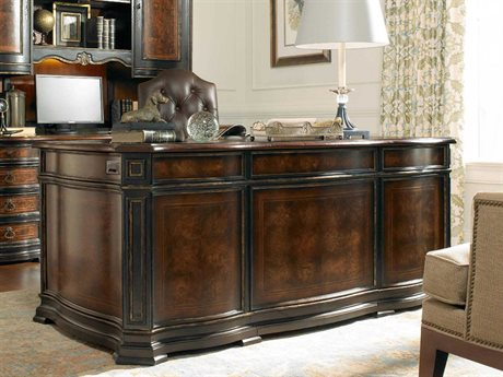 Hooker Furniture Grandover Black with Gold Accents 72''L x 38''W Rectangular Executive Desk