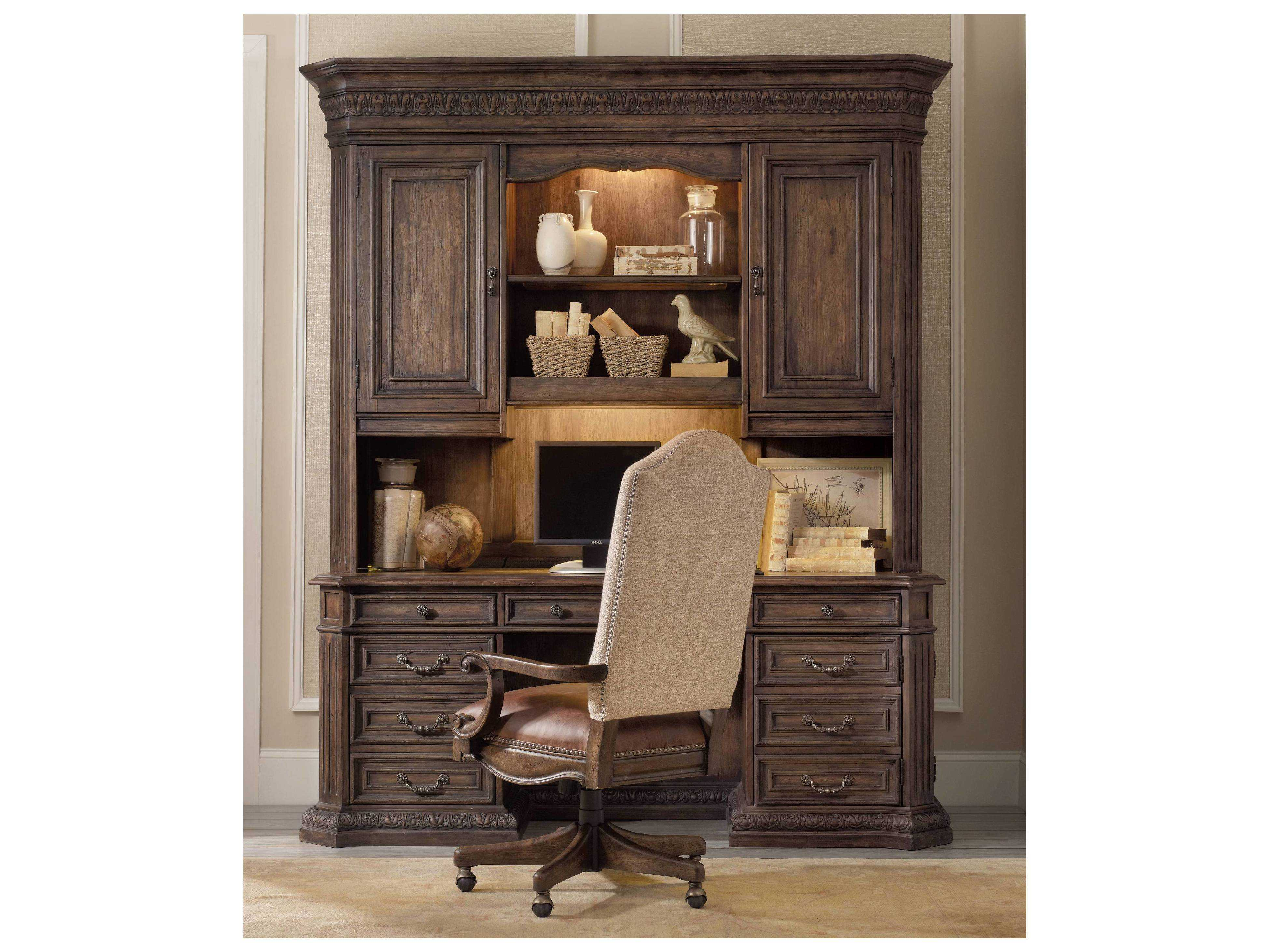 Furniture Rhapsody Rustic Walnut Computer Credenza Hutch