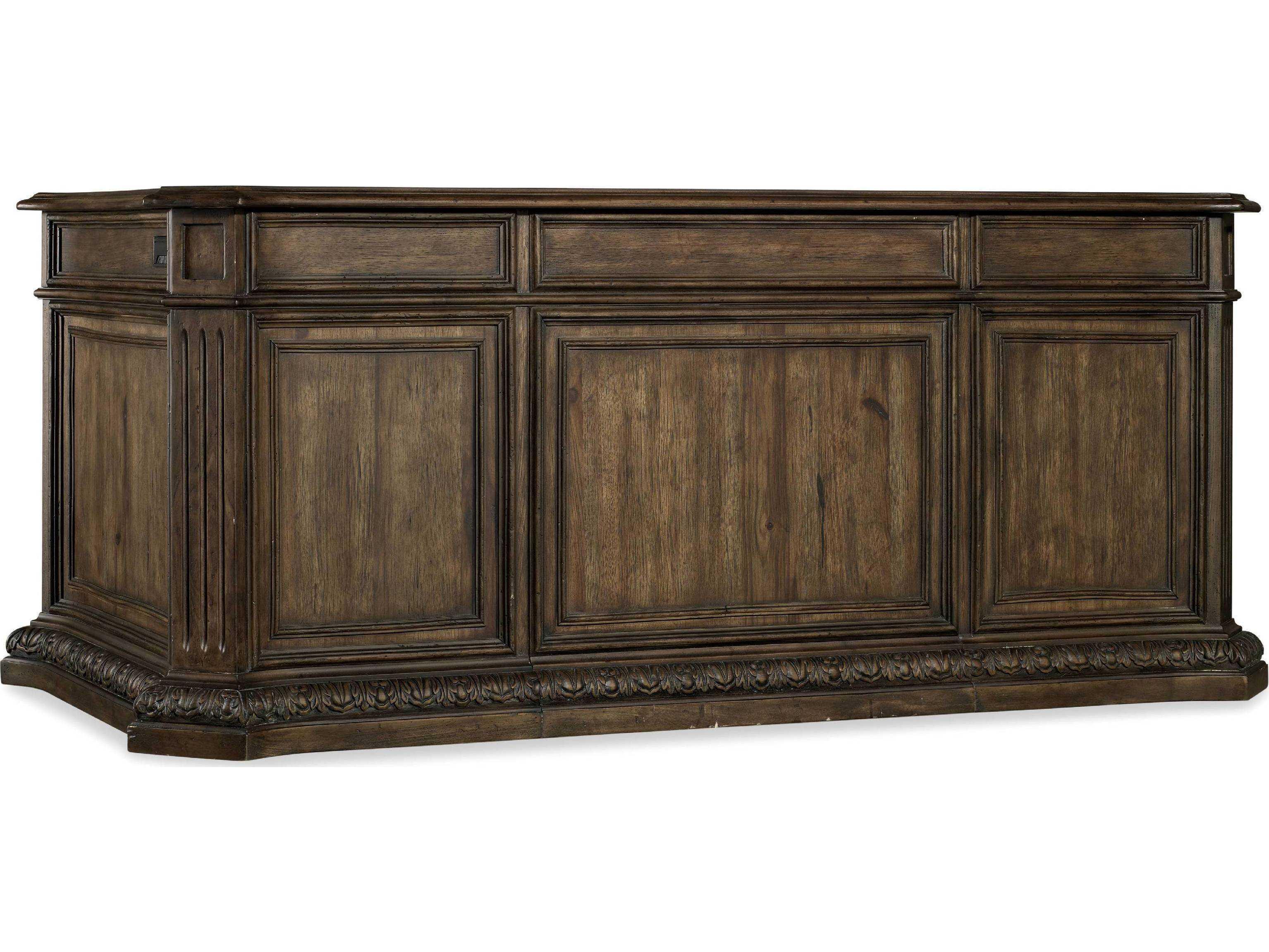 Rustic Americana Hardwood Executive Desk Home Office: Hooker Furniture Rhapsody Rustic Walnut 74''L X 40''W
