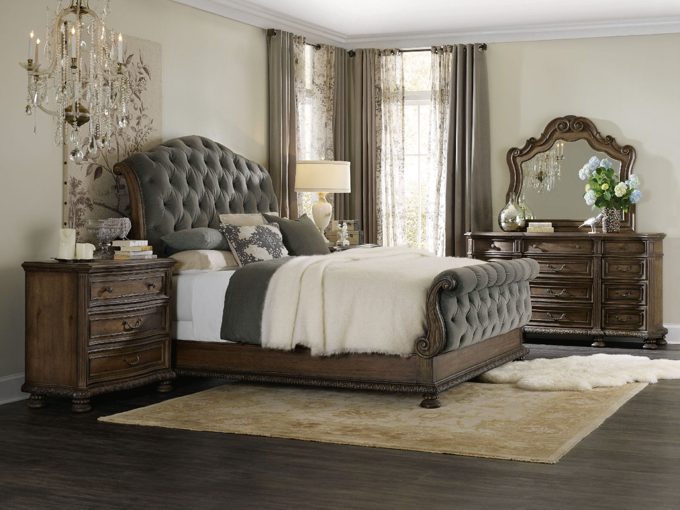 Hooker Furniture Rhapsody Rustic Walnut with Deep Grey King Size ...
