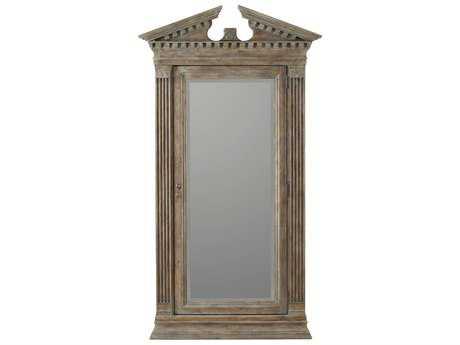 Hooker Furniture Rhapsody Walnut Rustic 48''W x 88''H Rectangular Floor Mirror with Jewelry Storage