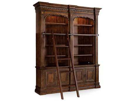 Hooker Furniture Adagio Rick Dark Double Bookcase with Ladder & Rail