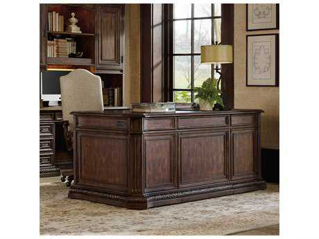 Hooker Furniture Adagio Rich Dark Brown with Gold Tipping 74''L x 40''W Rectangular Executive Desk