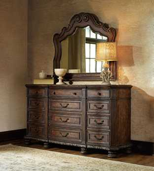 Hooker Furniture Adagio Rich Dark with Gold Tipping Triple Dresser & Mirror Set