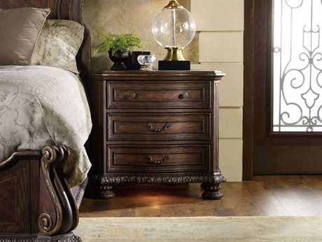 Hooker Furniture Adagio Rich Dark with Gold Tipping 35''W x 20''D Rectangular Nightstand