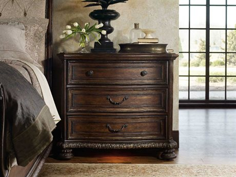 Hooker Furniture Adagio Rich Dark with Gold Tipping 42''W x 20''D Rectangular Bachelor Chest Nightstand