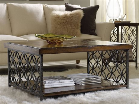 Hooker Furniture Medium Wood 40''L x 30''W Rectangular Cocktail Table with Patterned Iron