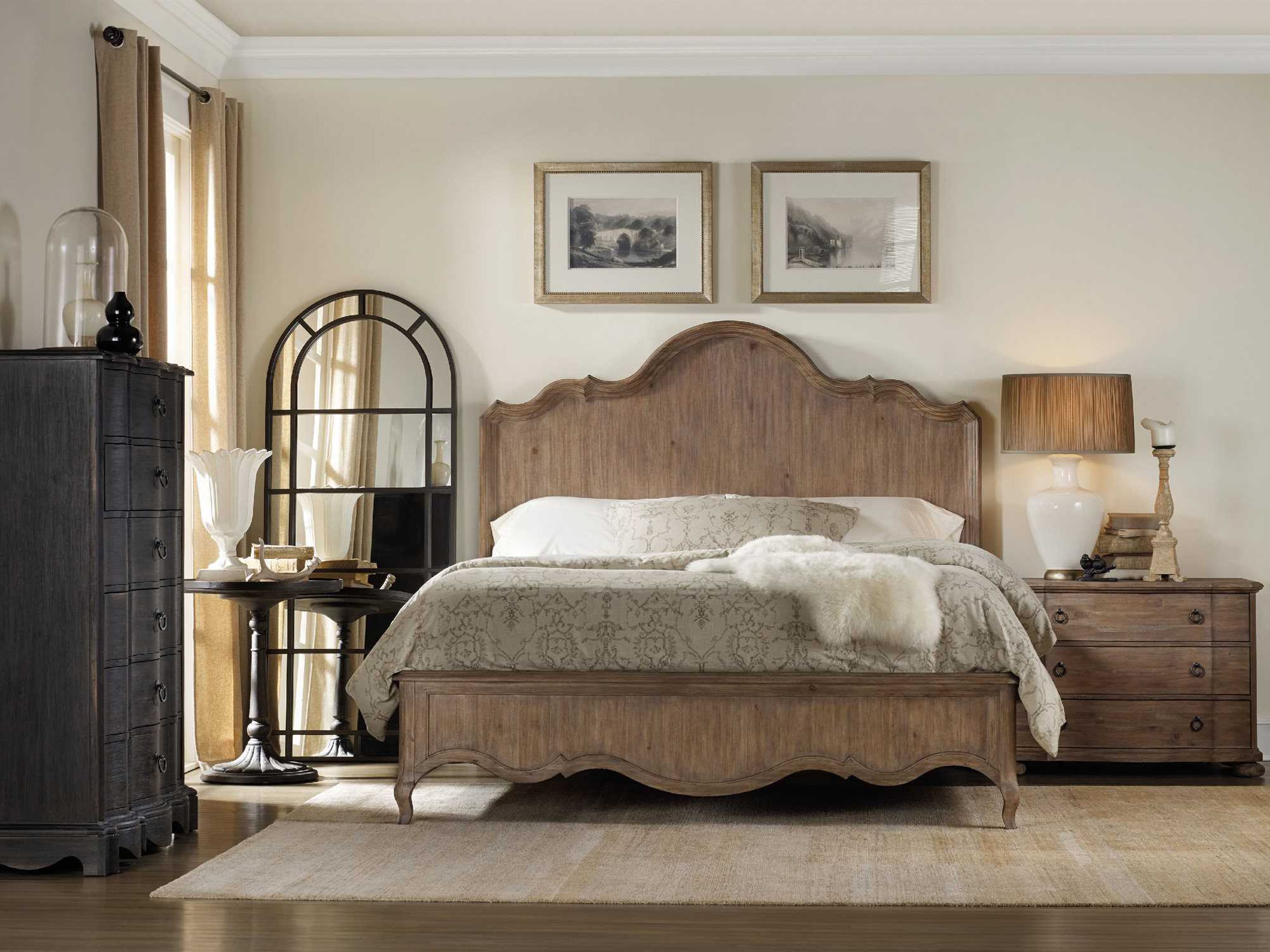 Hooker furniture corsica wood panel bed bedroom set for Hooker bedroom furniture