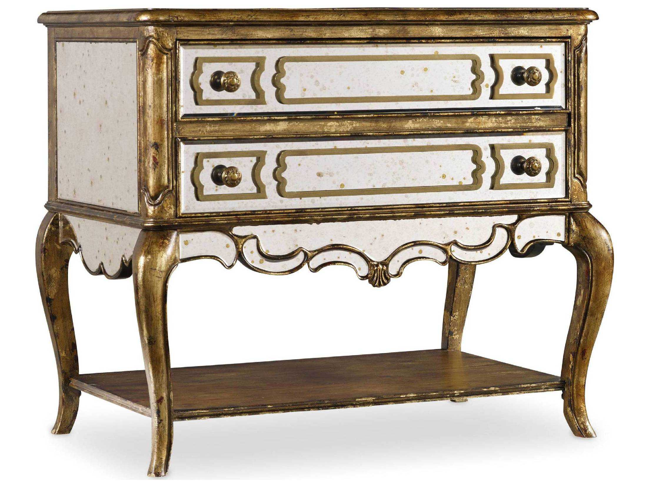 Hooker Furniture Gold Mirrored File Chest Hoo519910485