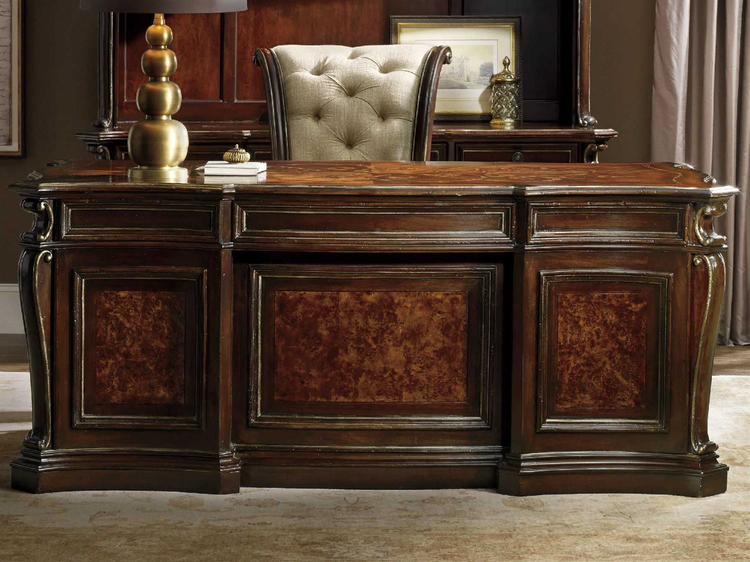 Executive Office Furniture: Hooker Furniture Grand Palais Dark Wood 73''L X 39''W