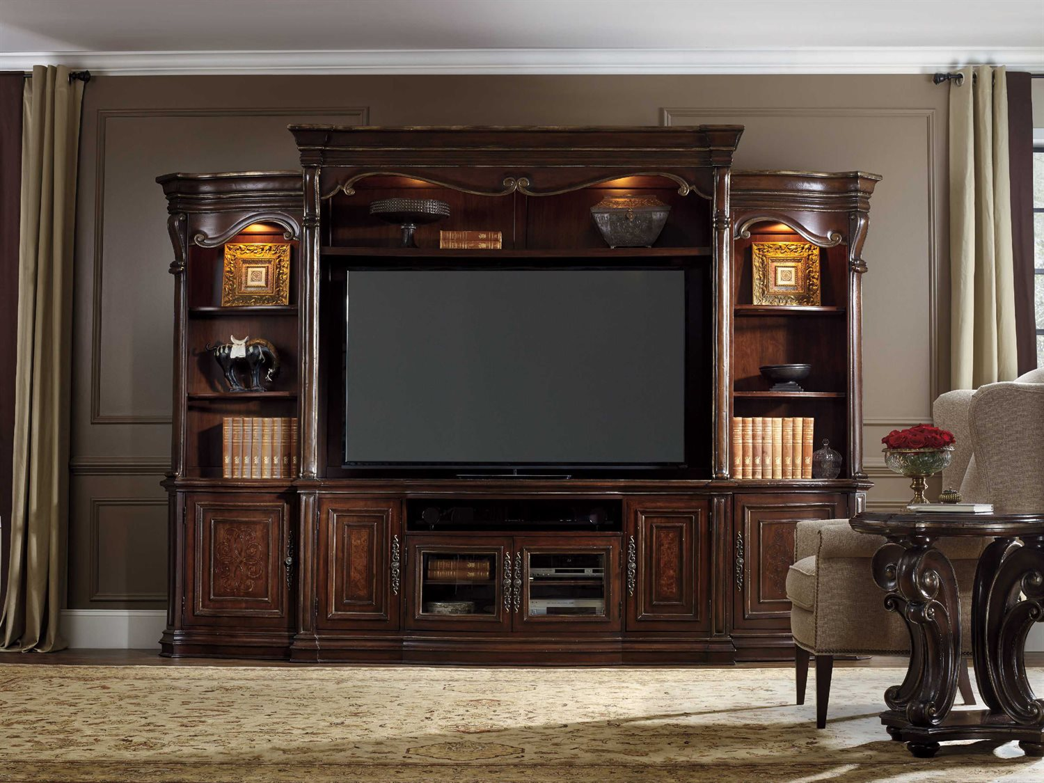 Hooker Furniture Grand Palais Dark Wood 135 39 39 L X 22 39 39 W Entertainment Center Hoo527270222