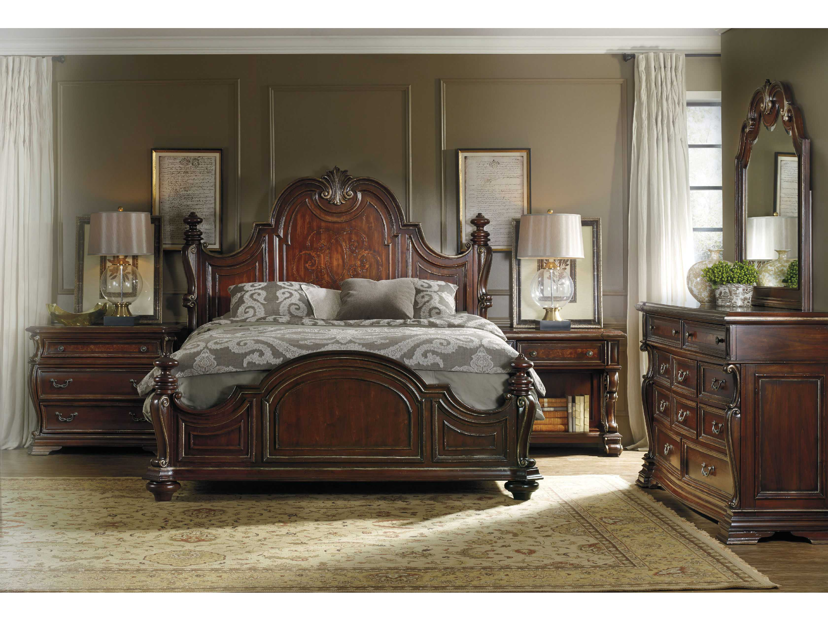 hooker furniture grand palais dark wood queen size poster bed