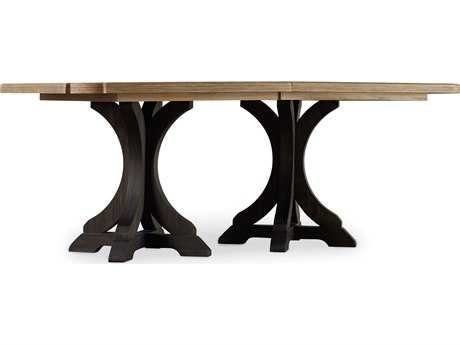 Hooker Furniture Corsica Dark Wood with Light Wood Top 78''L x 44''W Rectangular Pedestal Dining Table