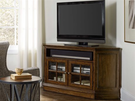 Hooker Furniture Brantley Dark Oak 66''L x 24''W Corner Entertainment Console