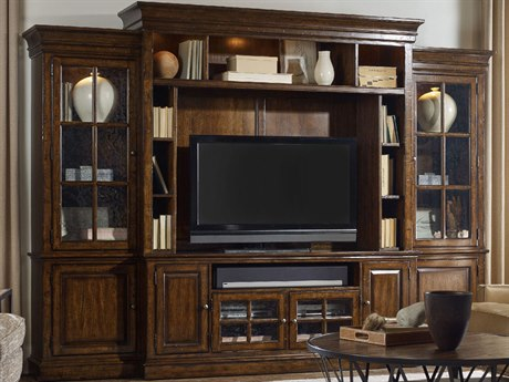 Hooker Furniture Brantley Dark Wood 128''L x 20''W Four-Piece Wall Entertainment Center