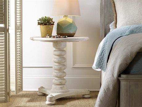 Hooker Furniture Sunset Point White, Cream & Beige 26'' Wide Round Bedside Nightstand