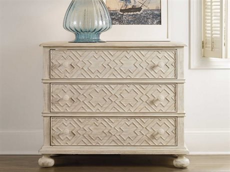 Hooker Furniture Sunset Point White, Cream & Beige 38''W x 19''D Rectangular Bachelor Chest Nightstand