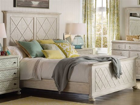 Hooker Furniture Sunset Point White, Cream & Beige King Size Fretwork Panel Bed