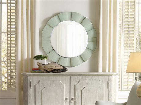 Hooker Furniture Sunset Point St John Blue 38'' Wide Round Wave Wall Mirror