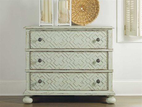 Hooker Furniture Sunset Point St John Blue 38''W x 19''D Rectangular Bachelor Chest Nightstand