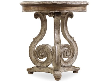 Hooker Furniture Chatelet Pecky Pan 26'' Wide Round Scroll Accent End Table (OPEN BOX)