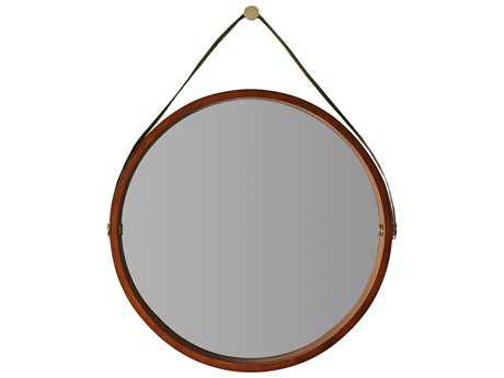 Hooker Furniture Studio 7H Low-sheen Walnut 36'' Wide Round Wall Mirror