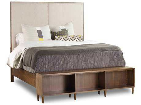 Hooker Furniture Studio 7H Low-sheen Walnut Aon Queen Size Platform Bed with Bookcase