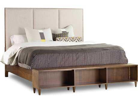 Hooker Furniture Studio 7H Low-sheen Walnut Aon King Size Platform Bed with Bookcase