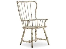 Hooker Furniture Sanctuary Vintage Chalky White Spindle Back Dining Arm Chair
