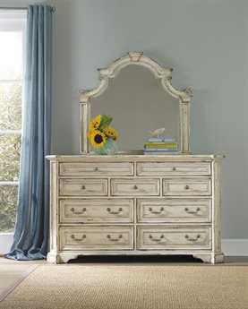 Hooker Furniture Sanctuary Vintage Chalky White Double Dresser & Mirror Set