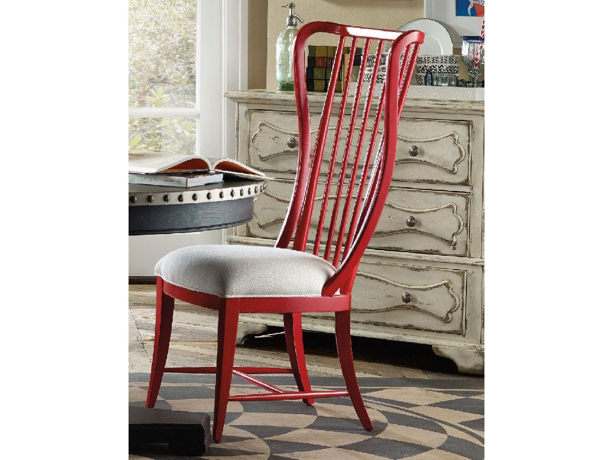 Hooker Furniture Sanctuary Ultra True Red Tall Spindle Dining Side Chair ...