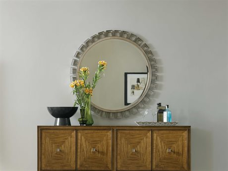 Hooker Furniture Retropolitan Light Wood 42''Wide Round Wall Mirror
