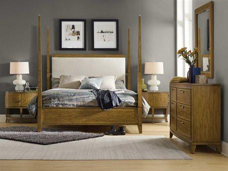 Hooker Furniture Retropolitan Upholestered Poster Bed Bedroom Set