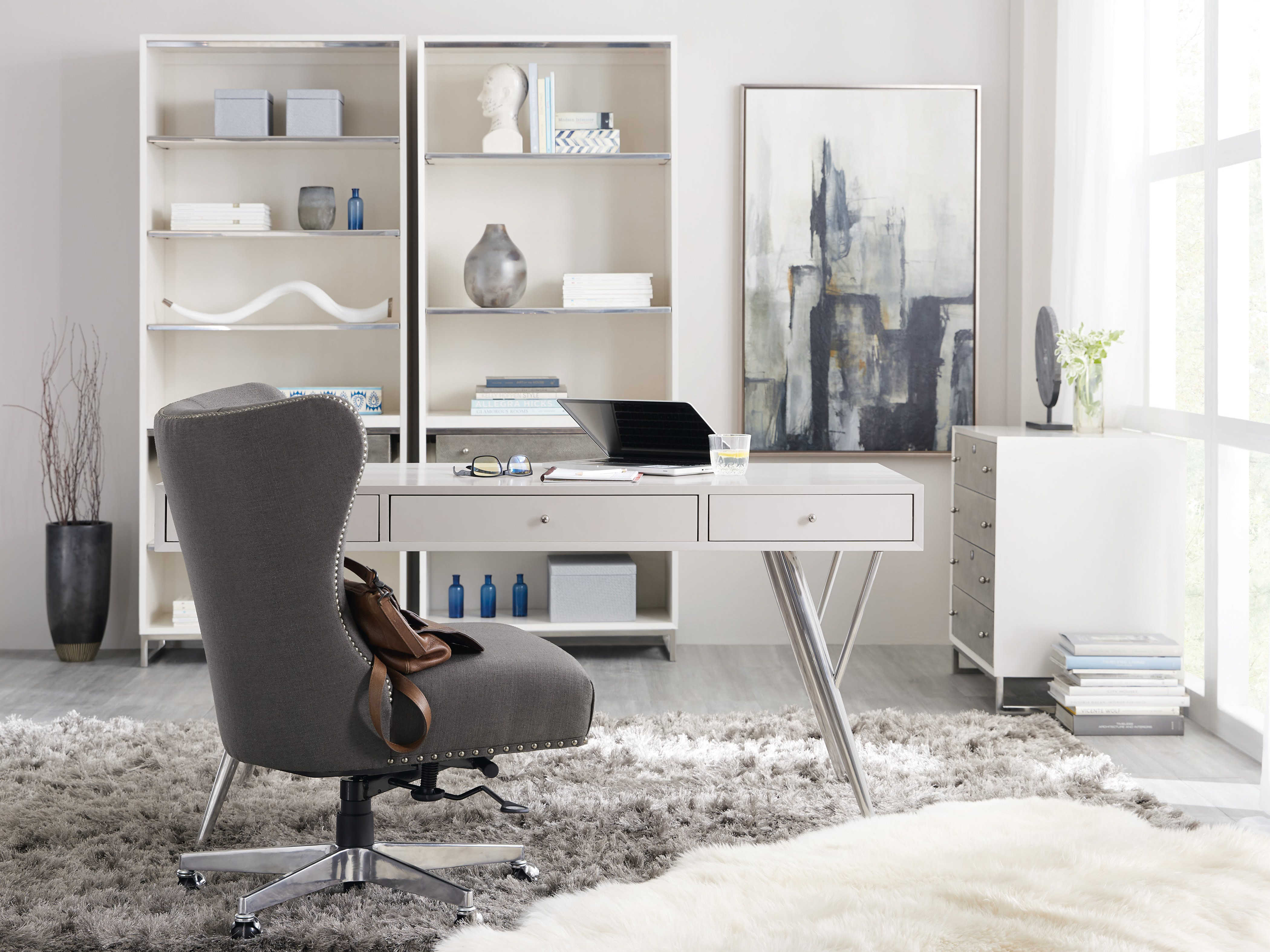 ... Writing Desk · Hooker Furniture Sophisticated White 60u0027u0027L X 30u0027u0027W  Rectangular ...