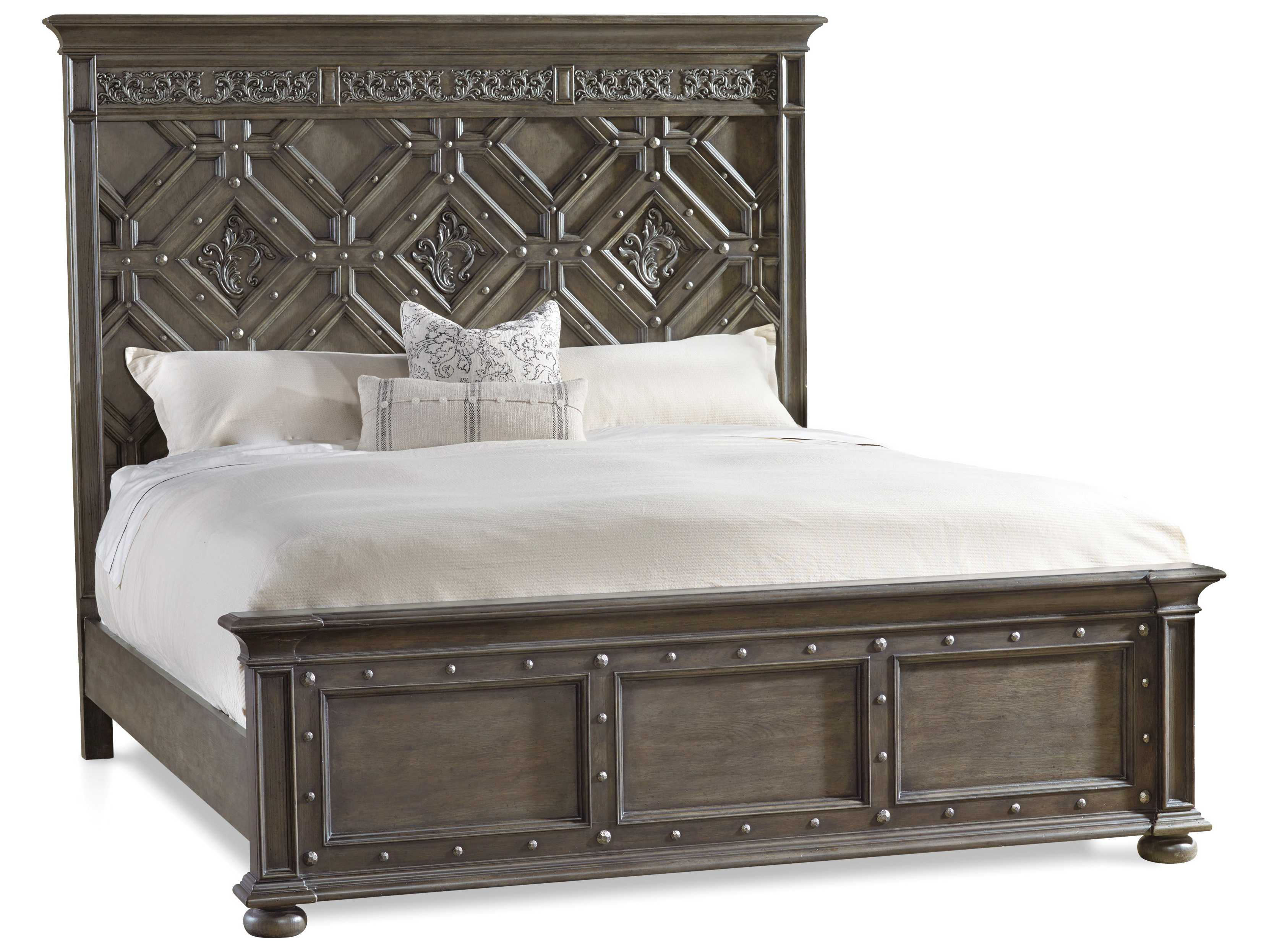 Hooker furniture vintage west dramatic dark charcoal king for Dramatic beds