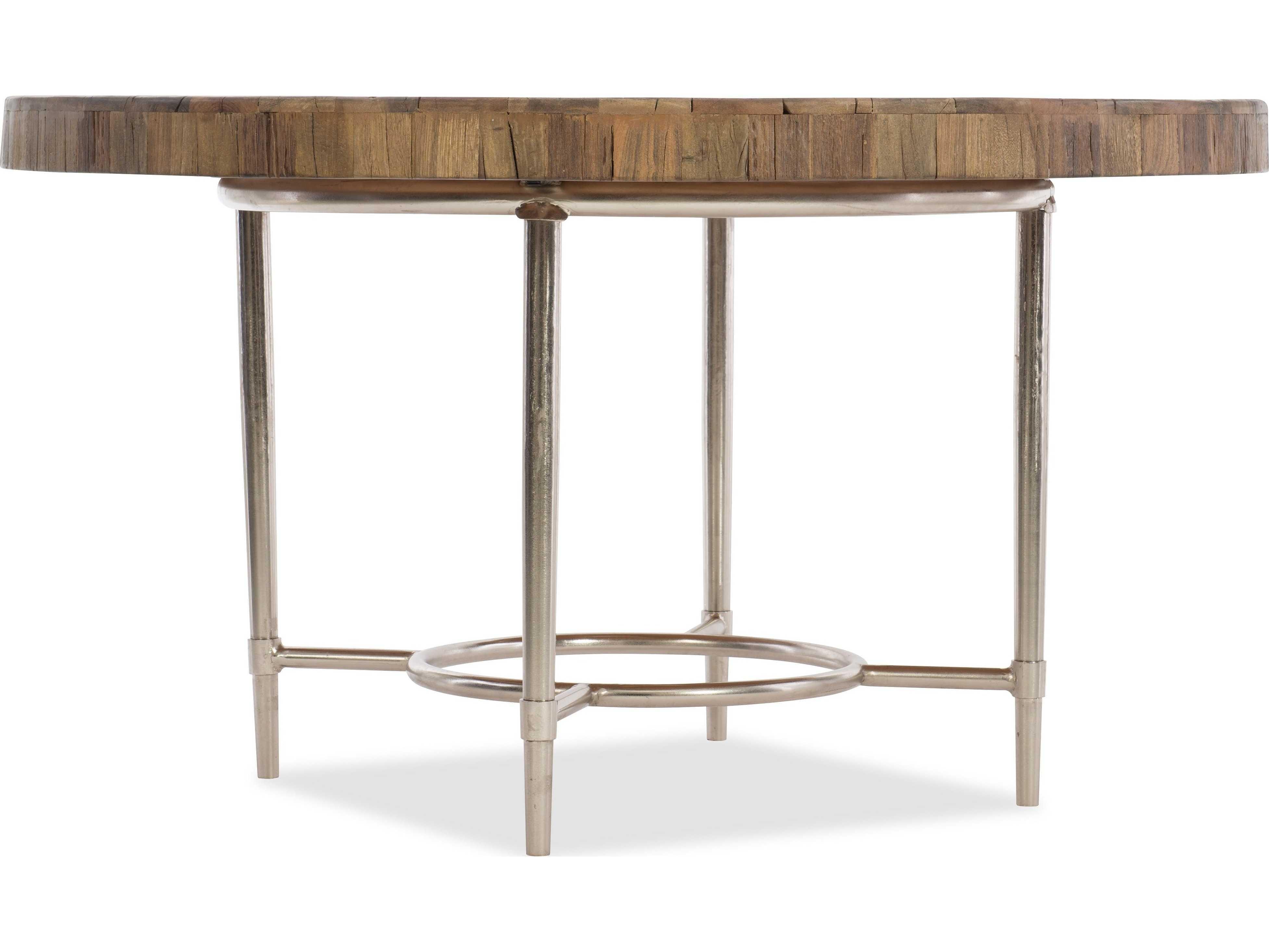 Hooker furniture l 39 usine medium wood 54 39 39 wide round for Table style usine