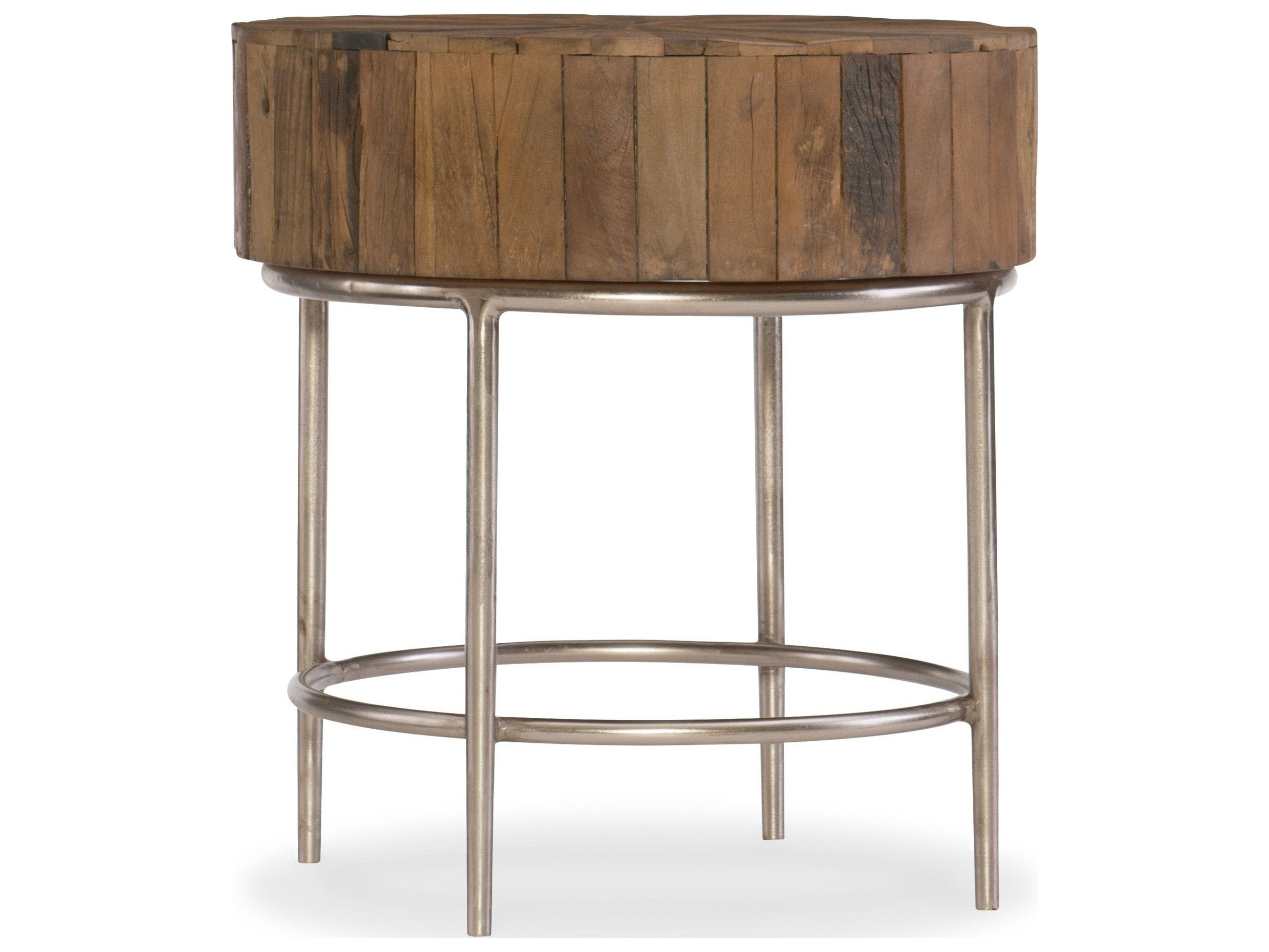 Hooker furniture l 39 usine medium wood 24 39 39 wide round end for Table style usine