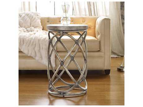 Hooker Furniture Melange Silver 17'' Wide Round Rattan Accent End Table