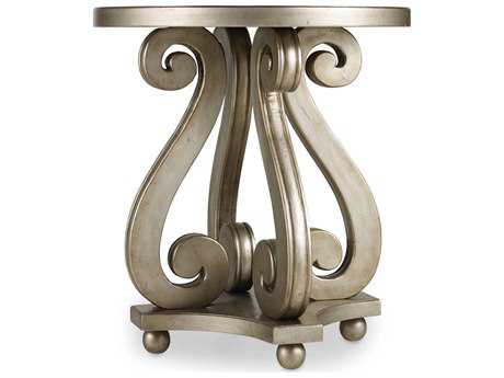 Hooker Furniture Melange Silver 24'' Wide Round Luna Accent End Table