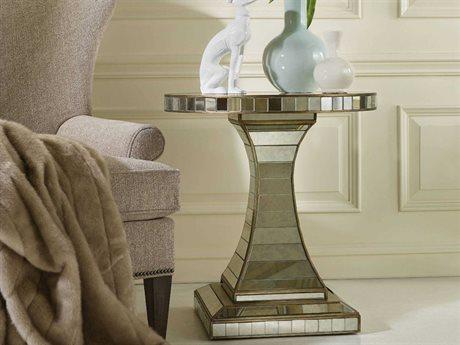 Hooker Furniture Melange Antiqued Mirror & Gold 26'' Wide Round Accent Pedestal Table