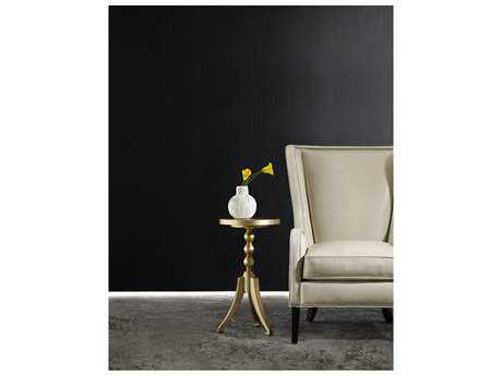 Hooker Furniture Melange Champagne with Antiqued Silver Leaf & Gold 14'' Wide Round Johanna Martini Pedestal Table