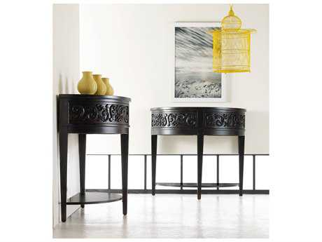 Hooker Furniture Melange Black 40''L x 19''W Demilune Damasque Console Table