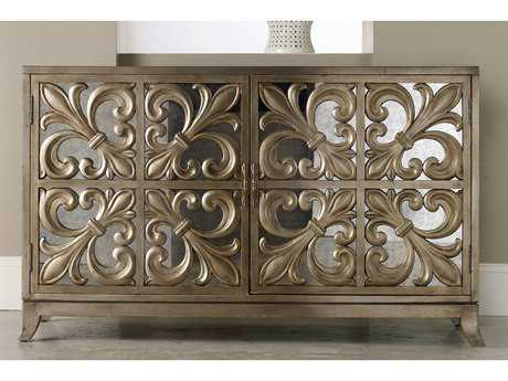 Hooker Furniture Melange Gold 56''L x 22''W Rectangular Fleur-de-lis Mirrored Credenza Buffet