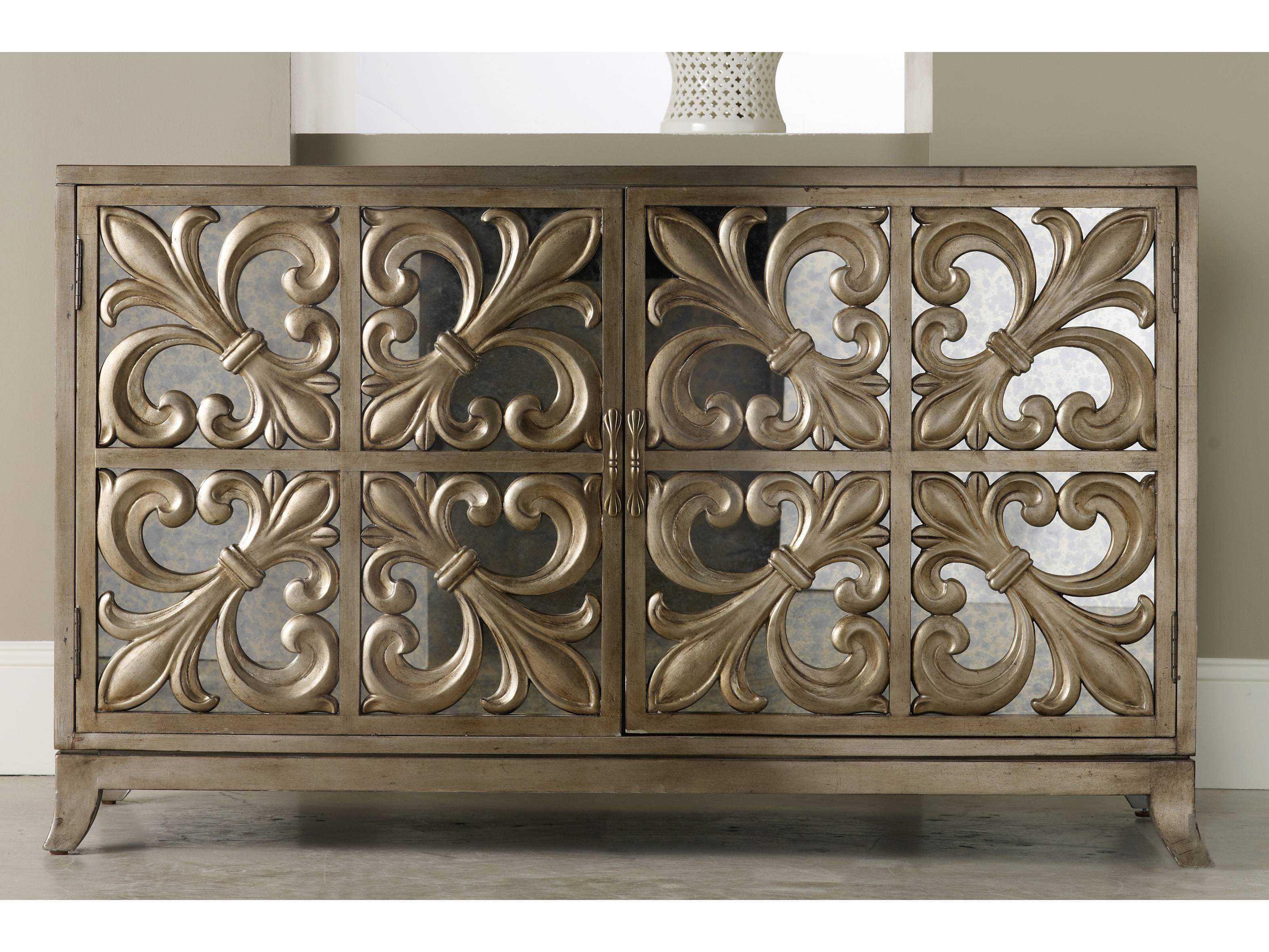 hooker furniture melange gold 56 39 39 l x 22 39 39 w rectangular fleur de lis mirrored credenza buffet. Black Bedroom Furniture Sets. Home Design Ideas