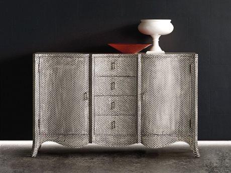 Hooker Furniture Melange White, Cream & Beige 60''L x 19''W Rectangular ZigZag Buffet