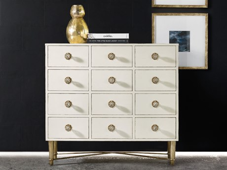 Hooker Furniture Melange White & Gold 46''W x 21''D Annabelle Apothecary Accent Chest Cabinet
