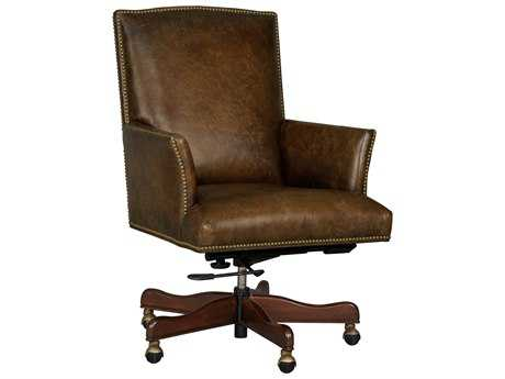 Hooker Furniture Inscription Mural Dark Wood Executive Swivel Chair